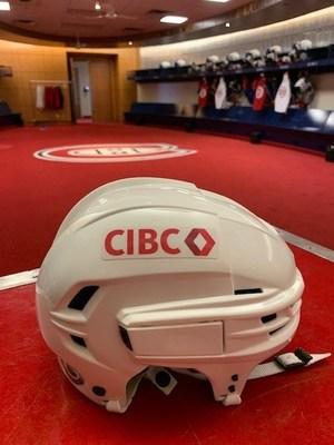 CIBC's brand adorning the team's white away helmets. (CNW Group/CIBC)