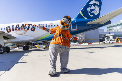 """Alaska Airlines unveils new San Francisco Giants livery with celebration at San Francisco International Airport featuring Giants mascot """"Lou Seal"""""""