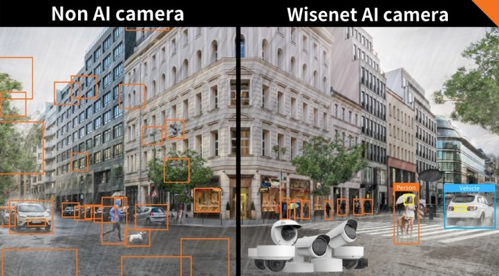 Comparison between non AI camera (Left) and Wisenet X series AI camera (Right). Wisenet X series AI cameras detect only meaningful objects in the scene where as non AI cameras simply detect every movement in the scene