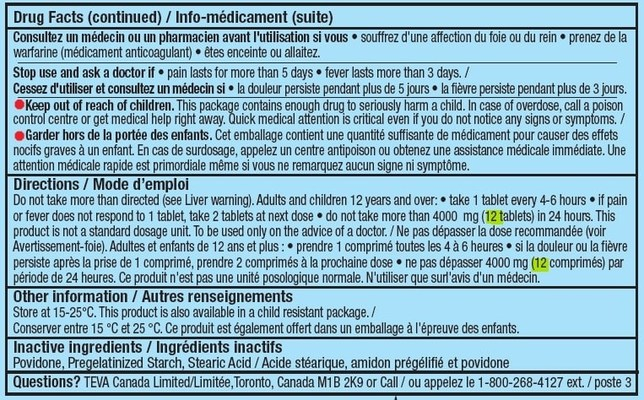 Incorrect dosage information on back of label (CNW Group/Health Canada)