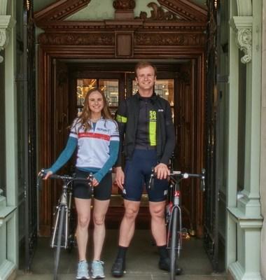 Top 2 Bottom Cyclists, Sophie Traube (L), Max Hobhouse (R) at Fortnum Mason (sponsor)