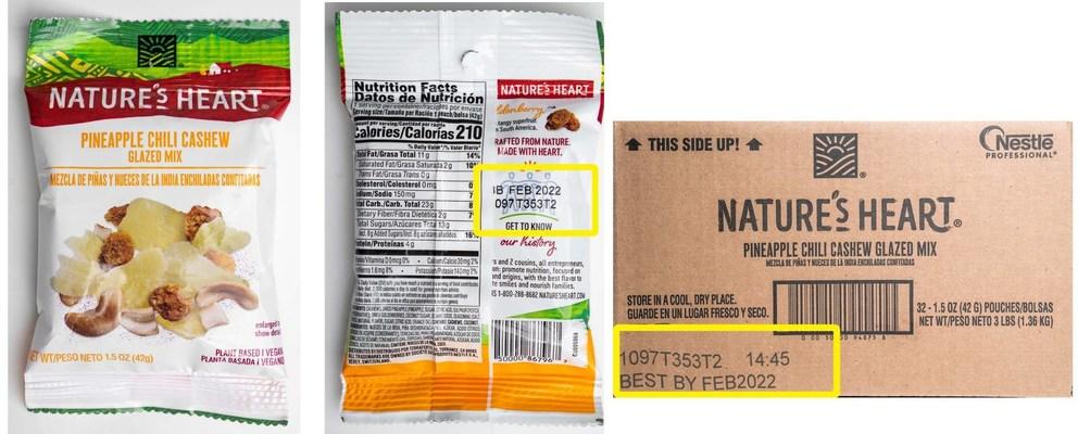 Nature's Heart 1.5 oz Pineapple Chili Cashew Glazed Mix: Pouch UPC: 050000867967; Case UPC: 050000948758