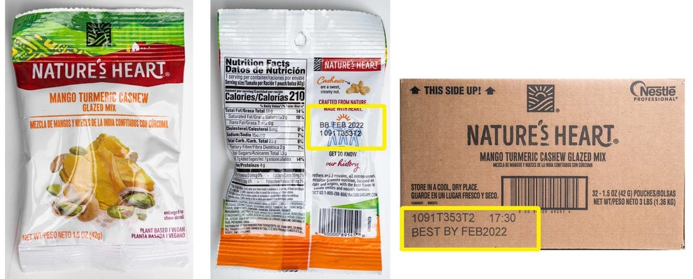 Nature's Heart 1.5 oz Mango Turmeric Cashew Glazed Mix: Pouch UPC: 050000891450; Case UPC: 050000692514