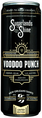 Voodoo Punch is a lightly carbonated canned moonshine cocktail featuring a blend of tropical fruit including pineapple, coconut, citrus and a hint of cherry. It is the first canned moonshine cocktail to feature official NFL marks. Sugarlands Distilling Co. is producing Voodoo Punch as part of its multiyear partnership with the New Orleans Saints.